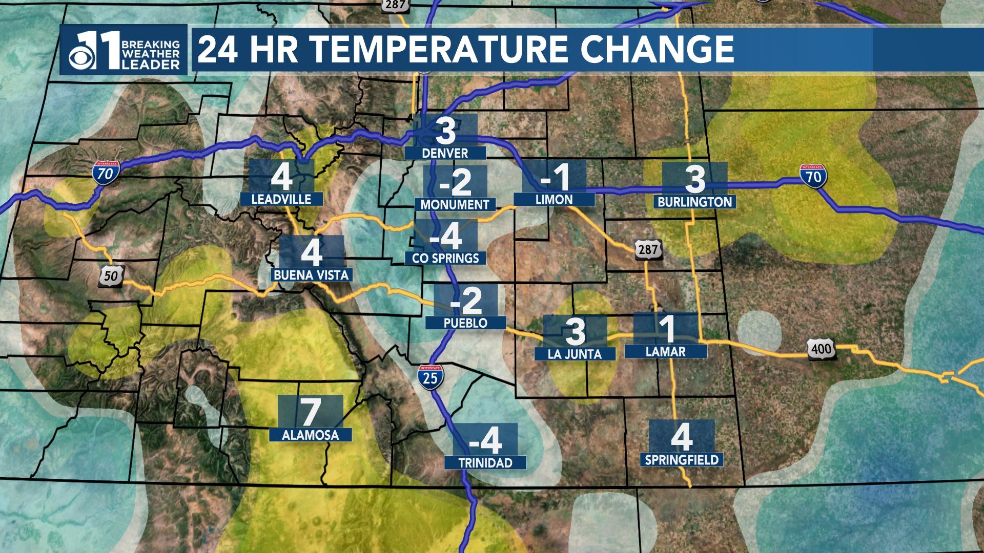 Colorado Temps 24 hours